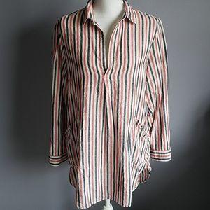 For Cynthia Striped Linen Cotton Popover Tunic